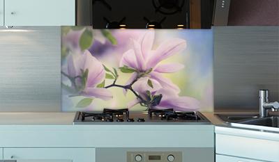 k chenr ckwand rosa bl ten sicherheitsglas. Black Bedroom Furniture Sets. Home Design Ideas