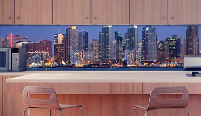 k chenr ckwand skyline water sicherheitsglas. Black Bedroom Furniture Sets. Home Design Ideas