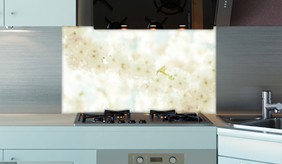 k chenr ckwand wei e bl ten plexiglas fliesenspiegel spritzschutz k che ebay. Black Bedroom Furniture Sets. Home Design Ideas