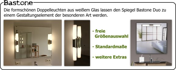 badspiegel mit aufgesetzten lampen glas pendelleuchte modern. Black Bedroom Furniture Sets. Home Design Ideas