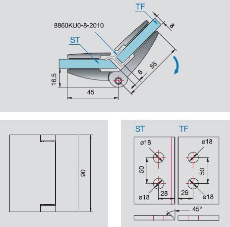 glas glas scharnier 135 grad. Black Bedroom Furniture Sets. Home Design Ideas